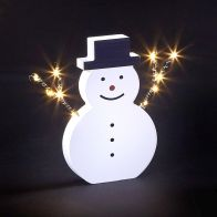 See more information about the 10 LED White Light Up Snowman Wooden & Metal Figure 17cm