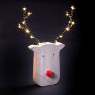 See more information about the 14 LED White Light Up Rudolph Wooden & Metal Face 19cm