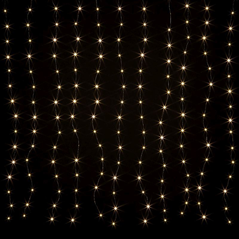198 LED Warm White Animated Curtain Light Mains 150 x 180cm