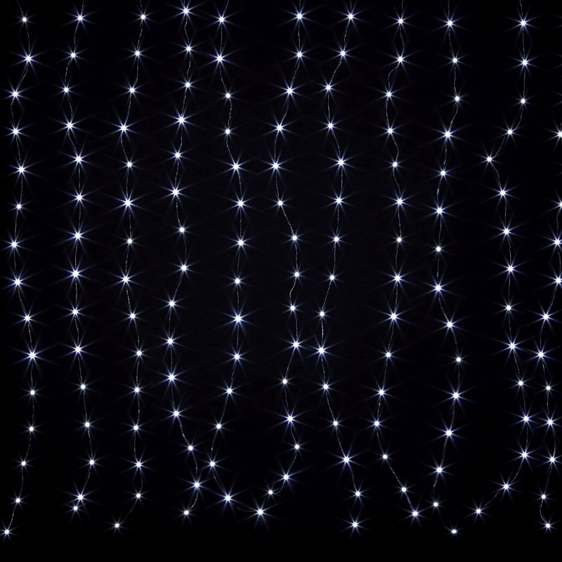 198 LED Cool White Animated Curtain Light Mains 150 x 180cm