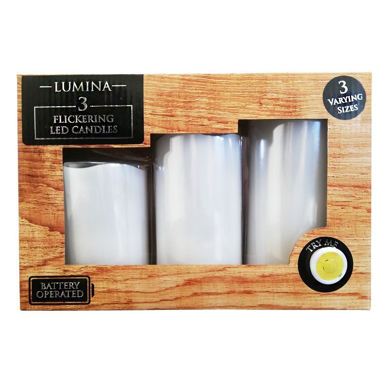 3 Pack of White LED Candles