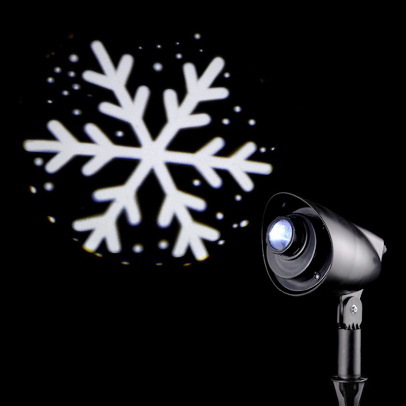 LED Projector White Outdoor Animated 3D Snowflake Mains