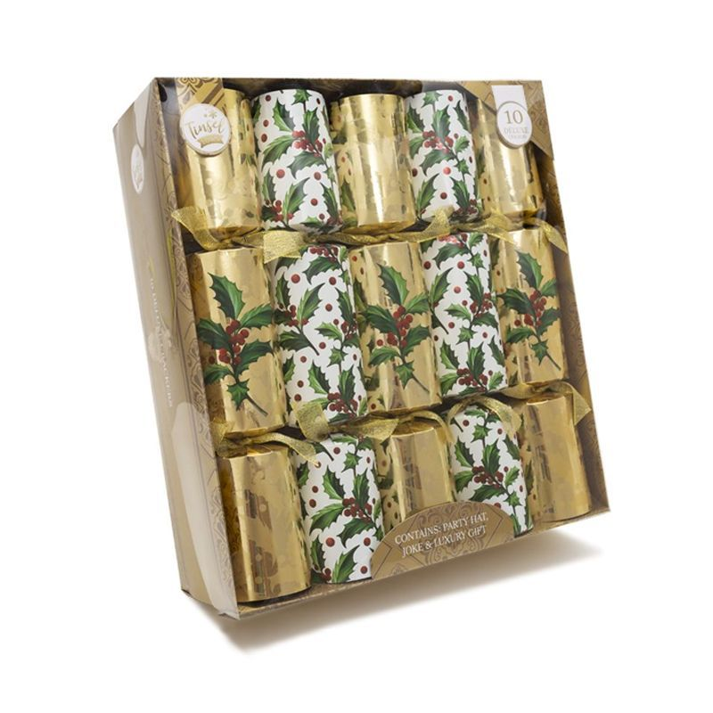 10 Deluxe Christmas Crackers 14 Inch - Gold With Holly