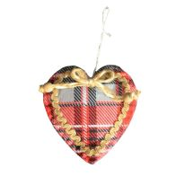 See more information about the Hanging Tartan Heart Decoration - 5 Inch