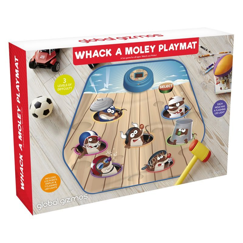 Whack-a-Mole Game Playmat Global Gizmos Ideal for Kids Play on the Mat Hammer