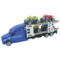 See more information about the Team Power Transporter Truck With 4 Quad Bikes Blue 30cm