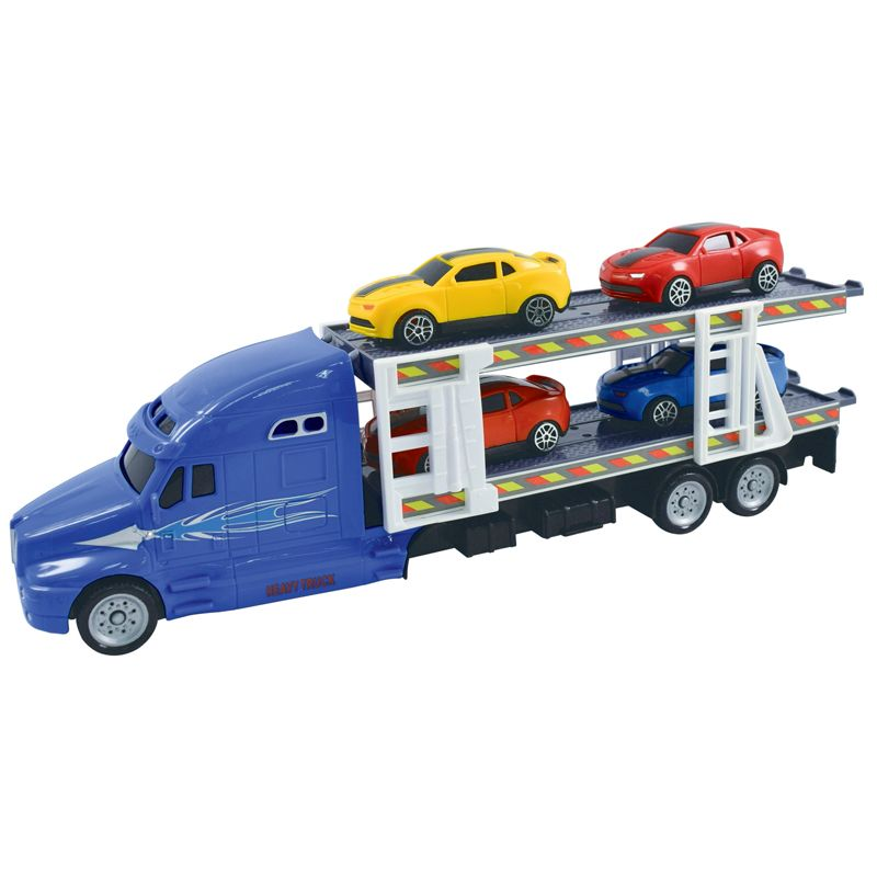 Team Power Transporter Truck With 4 Cars Blue 30cm