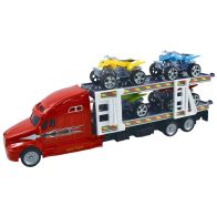 See more information about the Team Power Transporter Truck With 4 Quad Bikes Red 30cm