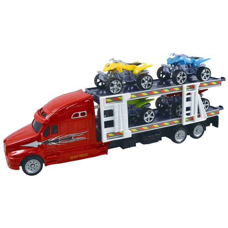 Team Power Transporter Truck With 4 Quad Bikes Red 30cm