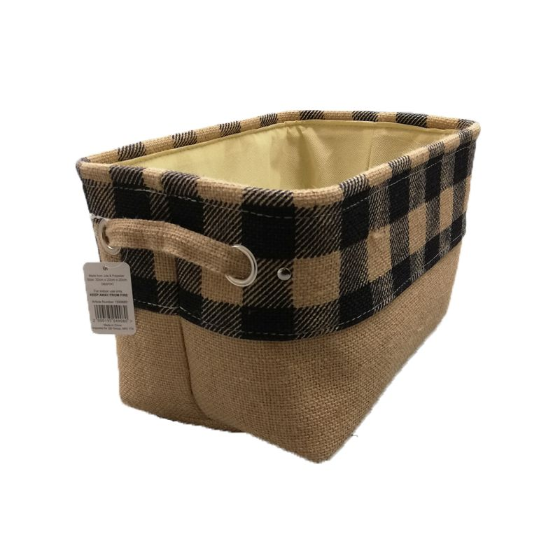 Navy Chequered Small Storage Basket