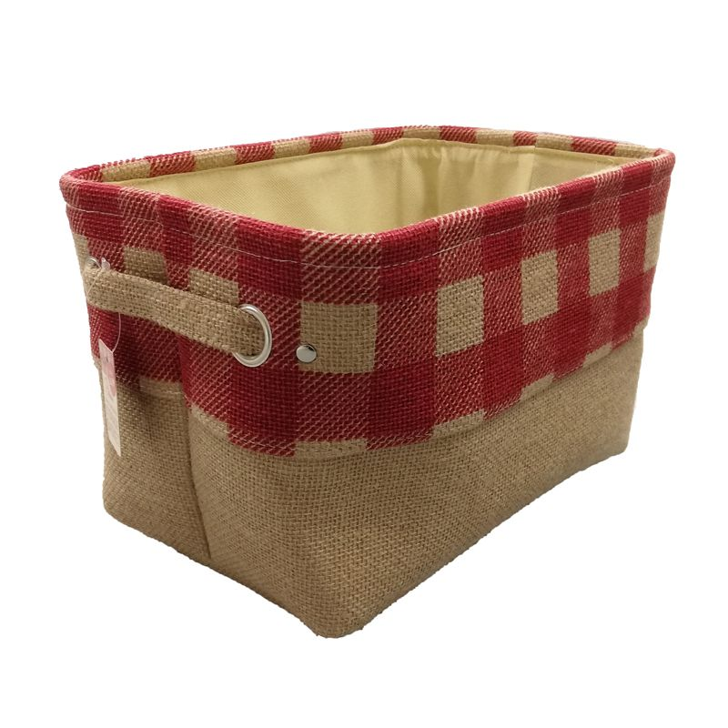 Red Chequered Small Storage Basket