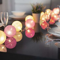 See more information about the 10 LED Glo-Globes String Lights Pink and White 6cm diameter