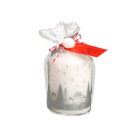 See more information about the White & Silver Pillar Candle 10 x 7cm