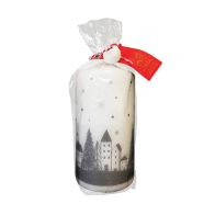 See more information about the White & Silver Pillar Candle 14 x 7cm