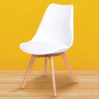 See more information about the Set Of Four Malmo Dining Chairs Beech & White