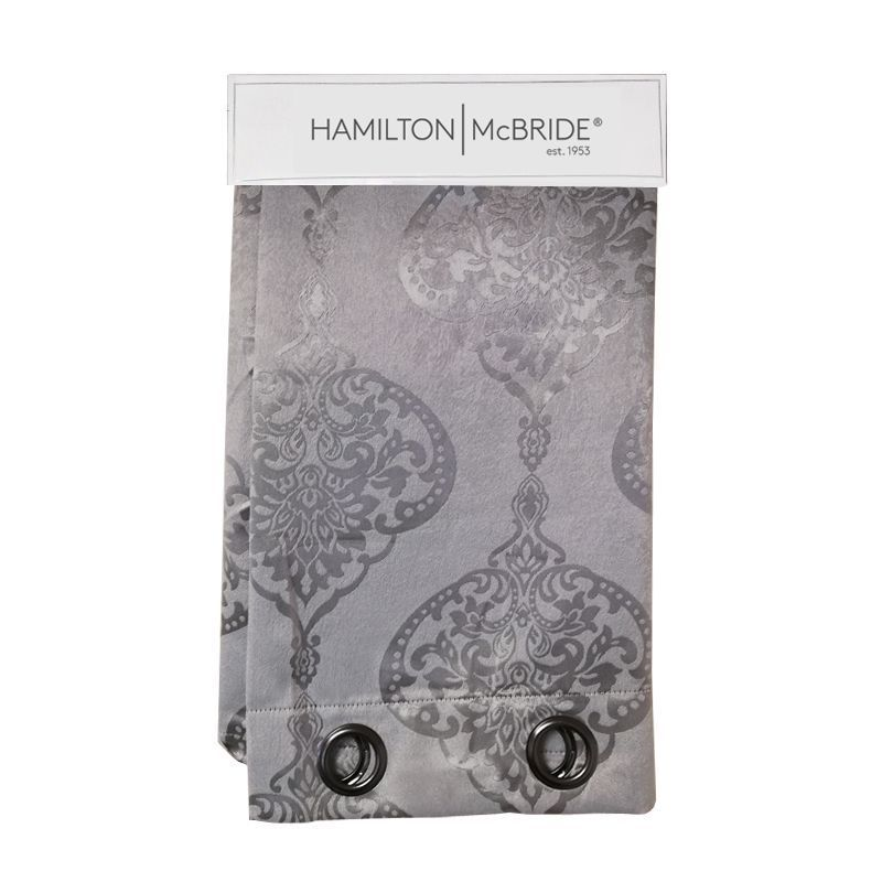 Hamilton McBride Damask Panel Curtains Silver 54 x 90cm