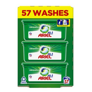 Image of Ariel 3 in 1 Washing Capsules Original 57 Washes