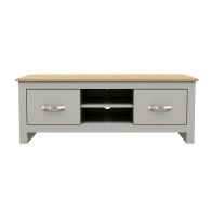 See more information about the Livingston TV Unit Grey & Oak 2 Drawers 2 Shelves