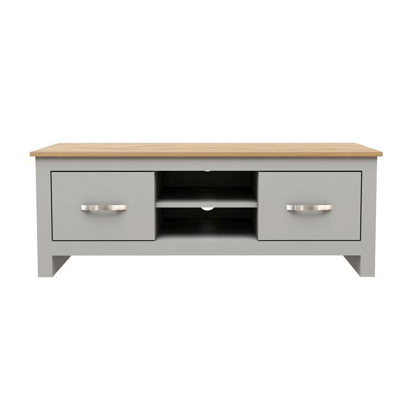 Livingston TV Unit Grey & Oak 2 Drawers 2 Shelves