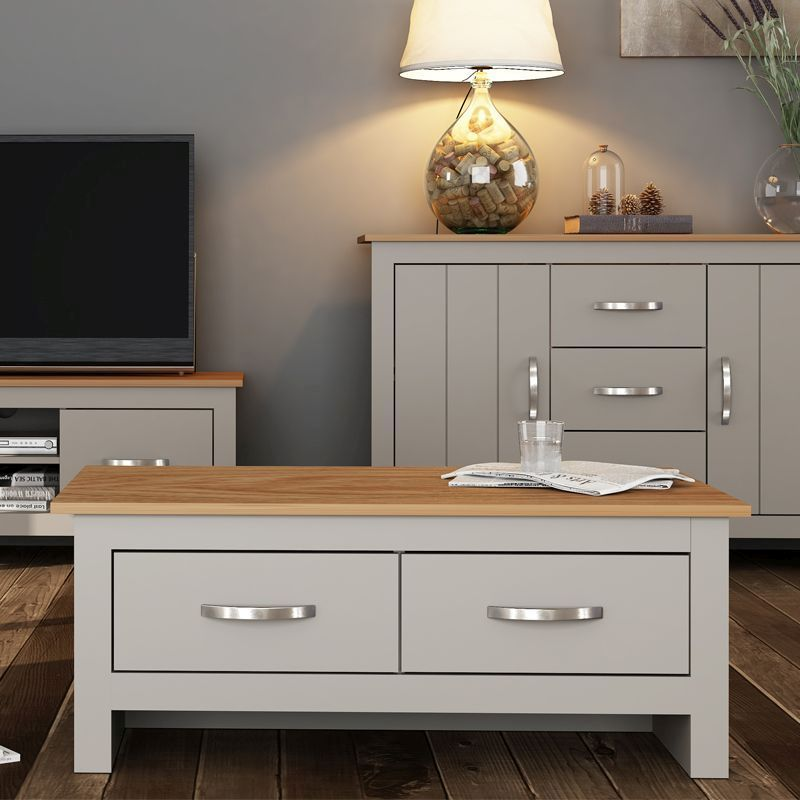 Livingston Coffee Table Grey & Oak 2 Drawer