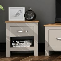 See more information about the Livingston Lamp Table Grey & White 1 Drawer 1 Shelf