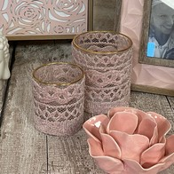 See more information about the Bloom Glass Candle Holder Pink Lace Large
