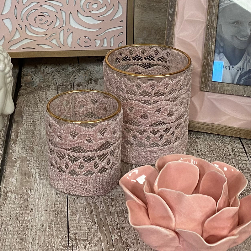 Bloom Glass Candle Holder Pink Lace Small