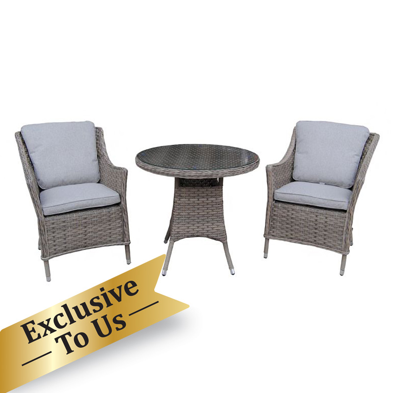 Arles Bistro Outdoor Dining Set Grey, All Weather Wicker Patio Dining Sets