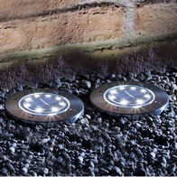 See more information about the Set of 2 Round Solar Lights with Silver Bezel Deck