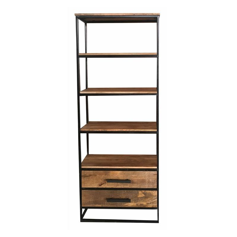 2 Drawer Industrial Bookcase