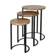 See more information about the Ravi Set of 3 Round Top Stools