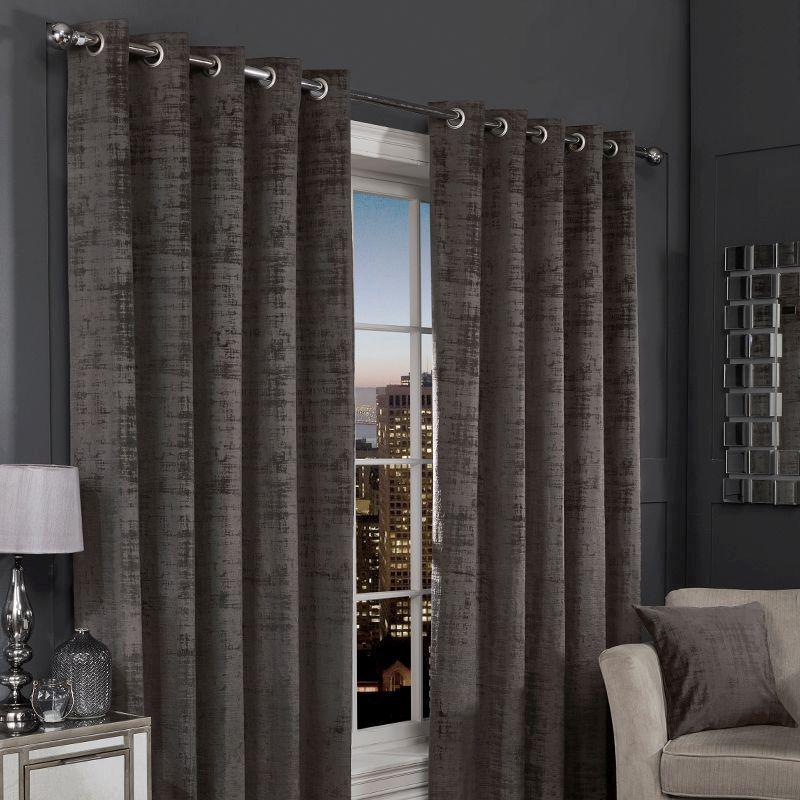 Hamilton Mcbride Charcoal Florence, Solar Navy Blackout Eyelet Curtains