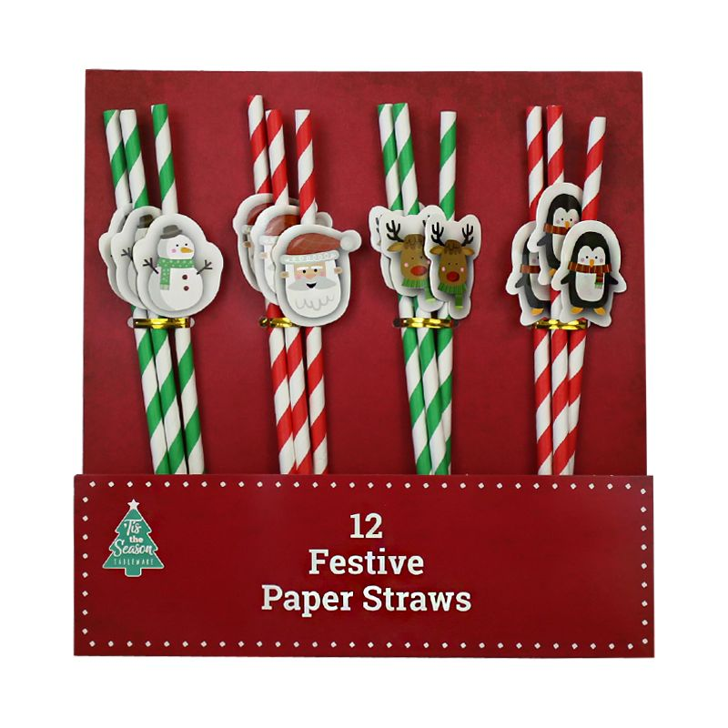 Christmas Paper Straws 12 Pack