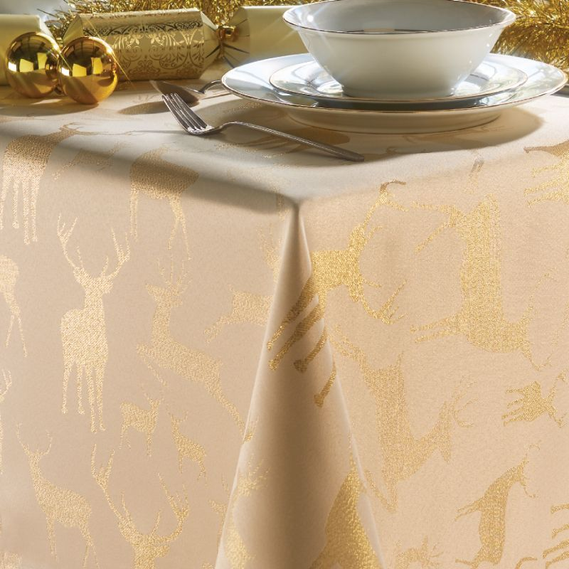 "Cream & Gold Stag Head Tablecloth 52"" x 70"" Rectangular"