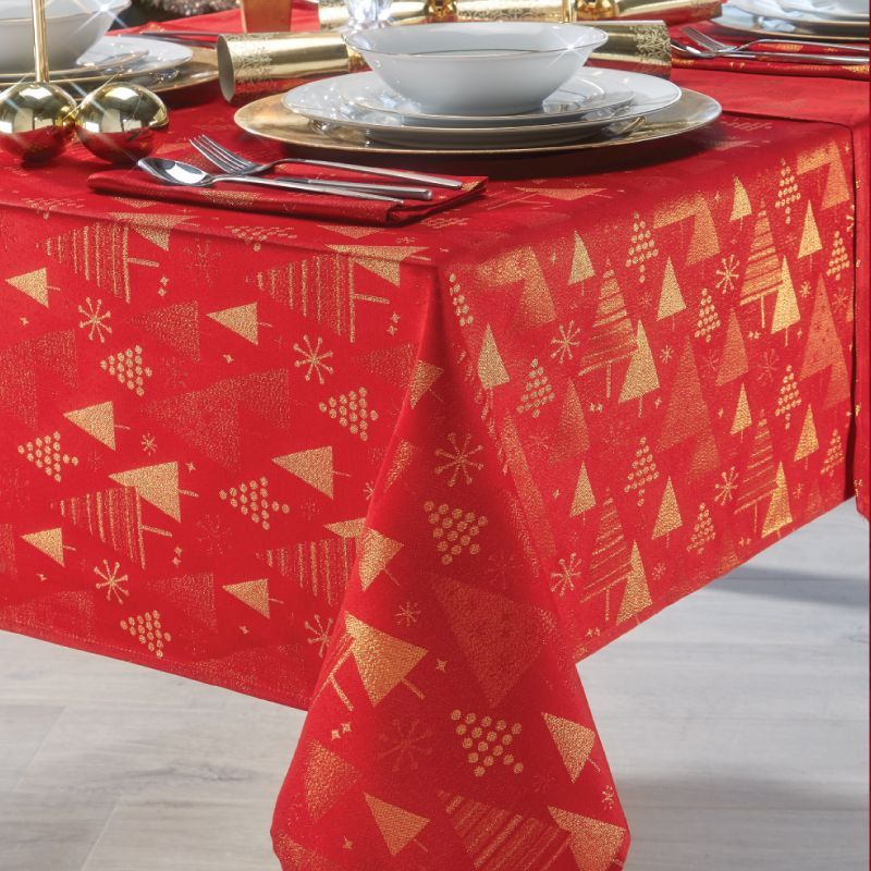 "Red & Gold Tree Tablecloth 52"" x 70"" Rectangular"
