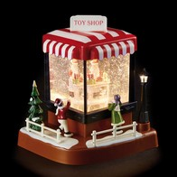 See more information about the LED White Animated Santa's Toy Shop Ornament 18cm