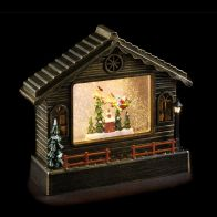 See more information about the LED White Animated Copper House With Santa Ornament 22cm