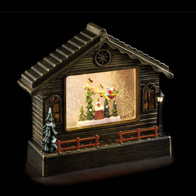 LED White Animated Copper House With Santa Ornament 22cm