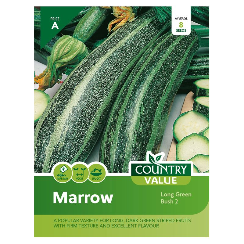 Country Value Marrow Long Green Bush 2 Seeds