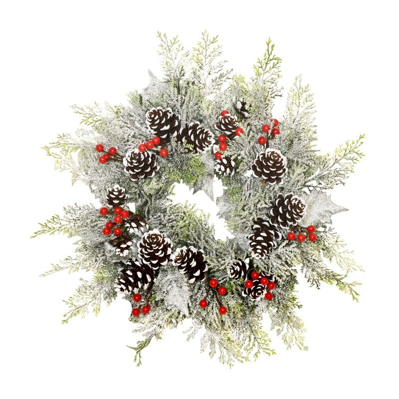 Frosted Foliage Wreath Green 35cm