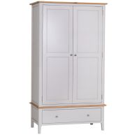 See more information about the Necton Oak Dove Grey 2 Door 1 Drawer Wardrobe