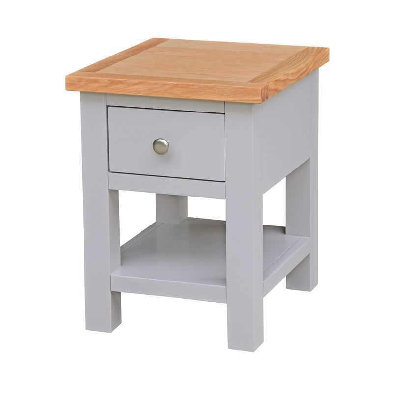 Lucerne Oak Grey 1 Drawer Lamp Side Table