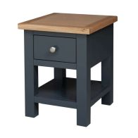 See more information about the Lucerne Oak Blue 1 Drawer Lamp Side Table