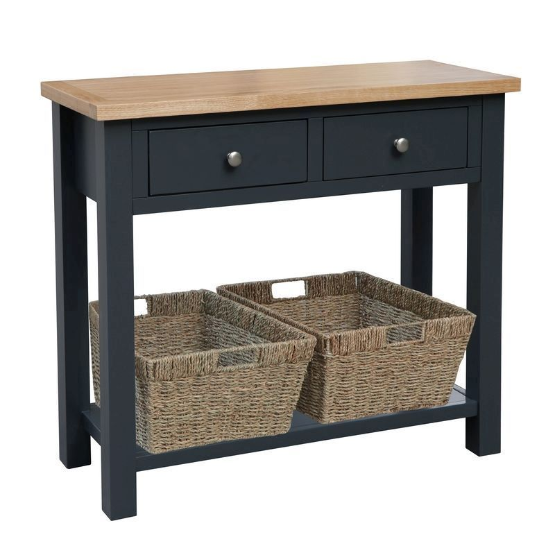 Lucerne Oak Blue 2 Drawer Console Table, Oak Console Table With Storage Baskets
