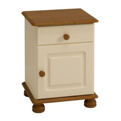 1 Drawer 1 Door Cream and Pine Traditional Table Cabinet