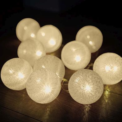 10 LED Glo-Globes String Lights White 6cm diameter