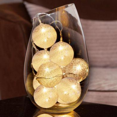 10 LED Glo-Globes String Lights White 8cm diameter