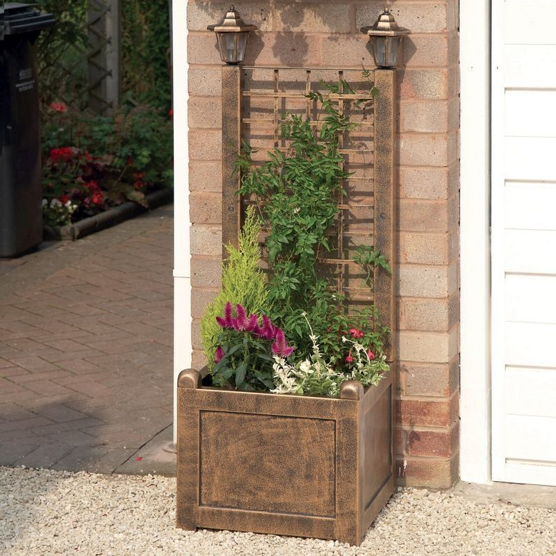 Trellis Garden Planter Bronze With Solar Lanterns
