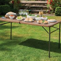 See more information about the Folding Garden Table Woodgrain 5ft