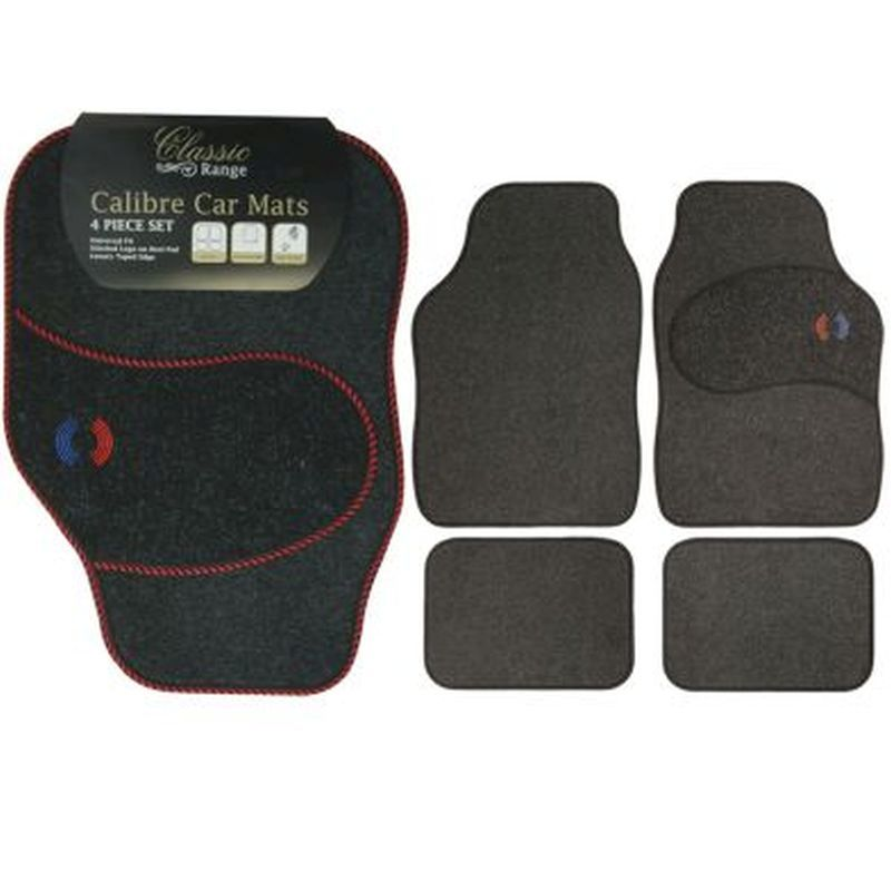 4pc Calibra Car Mat Set with Red Trim